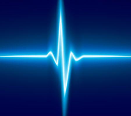 hjärtslag: Blue heart beat. Ekg graph. Illustration