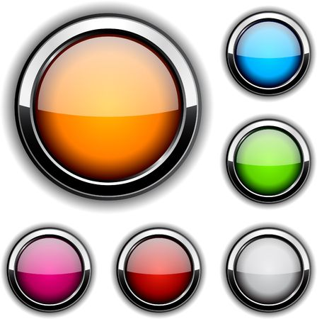 Collection of glossy buttons illustration.  Stock Vector - 6842437