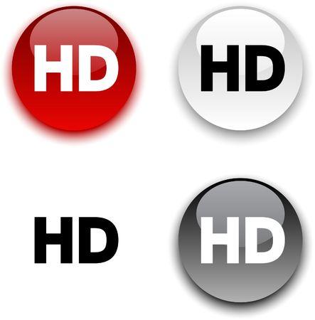 HD glossy round buttons. Vektoros illusztráció