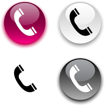 Telephone glossy round buttons.  Stock Vector - 6842394