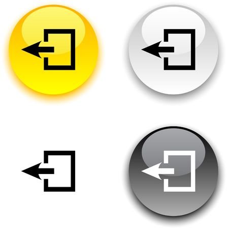 go button: Exit glossy round  buttons.  Illustration