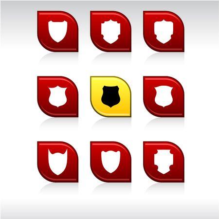 shield set: Shield set of leaf color icons.