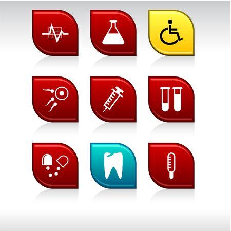 internet safety: Medical set of leaf color icons. Illustration