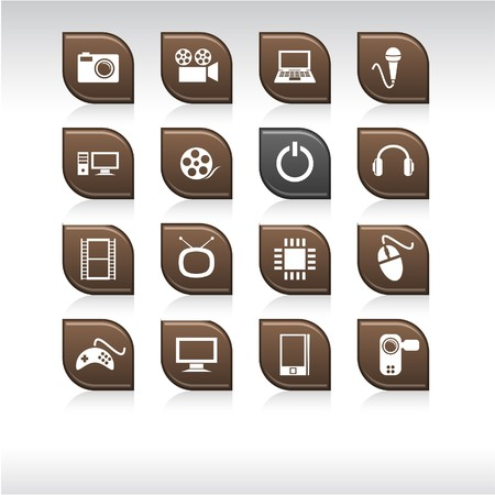 Multimedia set of leaf color icons. Stock Vector - 6842485