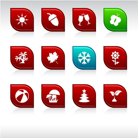 Seasons set of leaf color icons. Vector