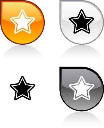 Star glossy drop vibrant buttons. Stock Vector - 6847610