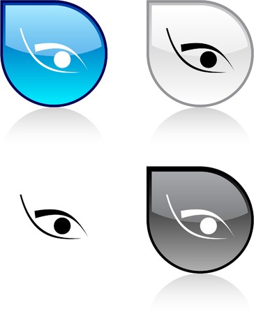 Eye glossy drop vibrant buttons. Stock Vector - 6847589