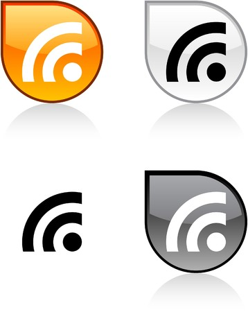 rss: Rss glossy drop vibrant buttons.  Illustration