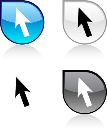 Cursor glossy drop vibrant buttons. Vector