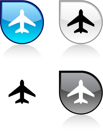 drop shadow: Aircraft glossy drop vibrant buttons.