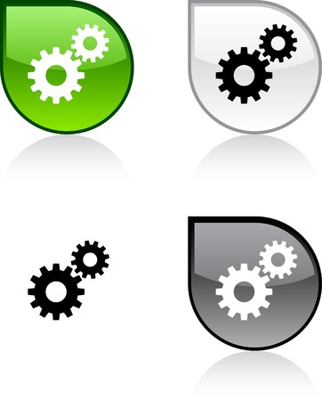 settings icon: Settings glossy drop vibrant buttons.
