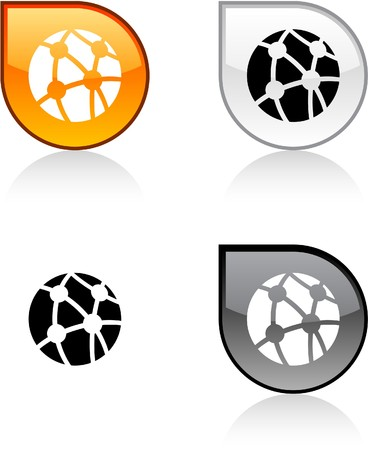Network glossy drop vibrant buttons. Stock Vector - 6872974