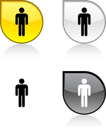 Male glossy drop vibrant buttons. Stock Vector - 6932940