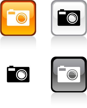web camera: Photo glossy square vibrant buttons.