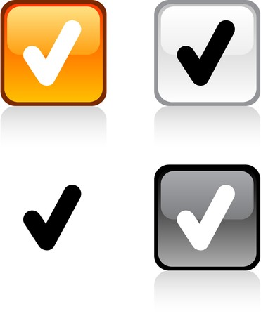 yes check mark: Check glossy square vibrant buttons.  Illustration
