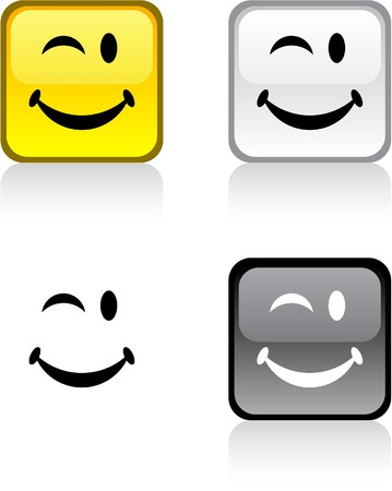 Smiley glossy square vibrant buttons. Stock Vector - 6976375