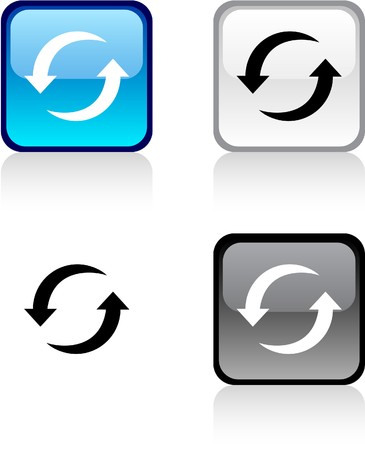 rotation: Refresh glossy square vibrant buttons.  Illustration