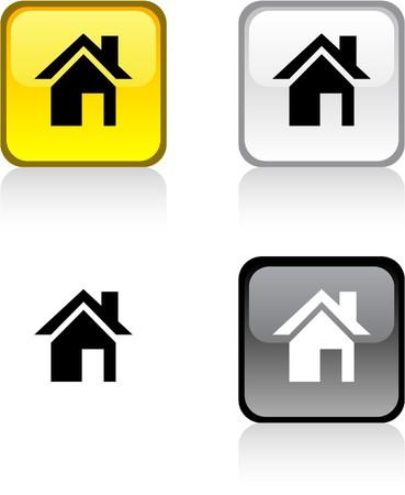 Casa botones cuadrados vibrantes brillantes.