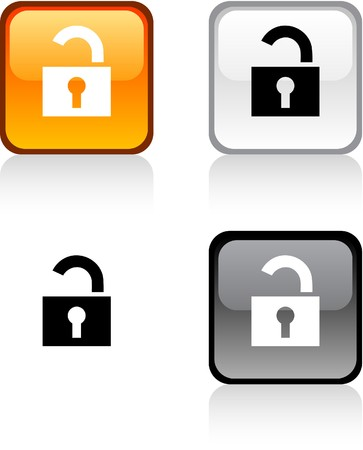 padlock icon: Padlock glossy square vibrant buttons.