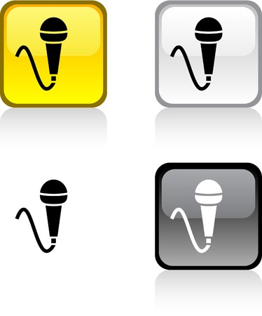 Mic glossy square vibrant buttons.  Vector