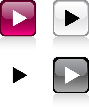Tocar botones cuadrados vibrante brillante.  Ilustración de vector