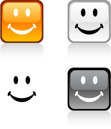 smiley: Smiley glossy square vibrant buttons.