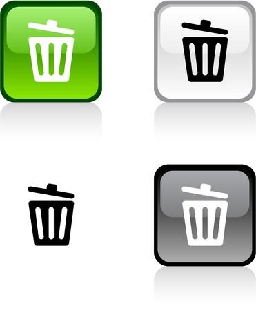 Reciclar bin. botones cuadrados vibrantes brillantes.  Foto de archivo - 7004320