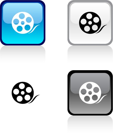 square buttons: Media glossy square vibrant buttons.  Illustration