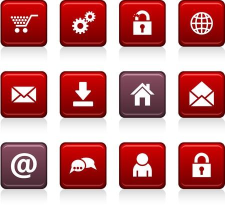 arroba: web set of square color icons.
