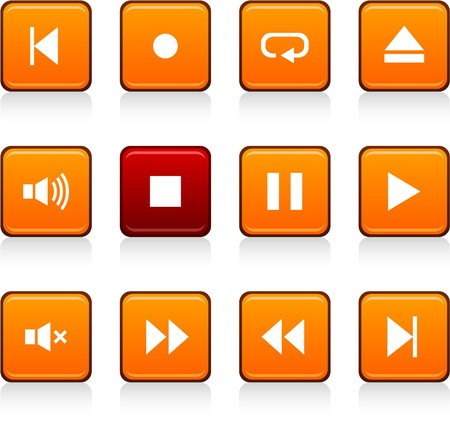 Player set of square color icons. Stock Vector - 7035311