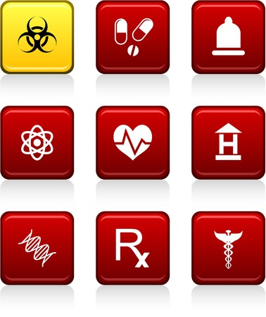 Medical set of square color icons. Vector