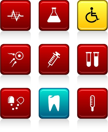 Medical set of square color icons. Stock Vector - 7035309