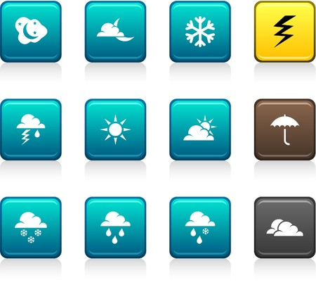 rainy: Weather set of square color icons.