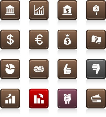 Money set of square color icons. Stock Vector - 7045868