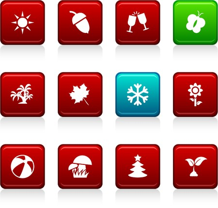 Seasons set of square color icons. Stock Vector - 7045854