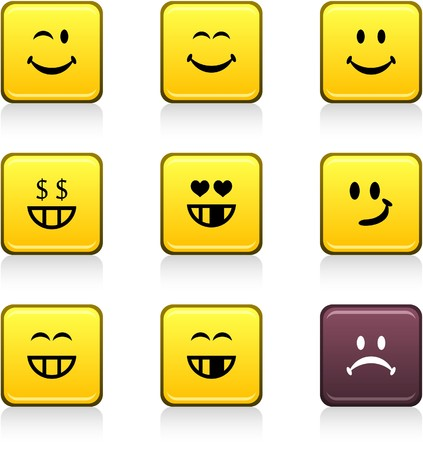 face expressions: Smiley set of square color icons.
