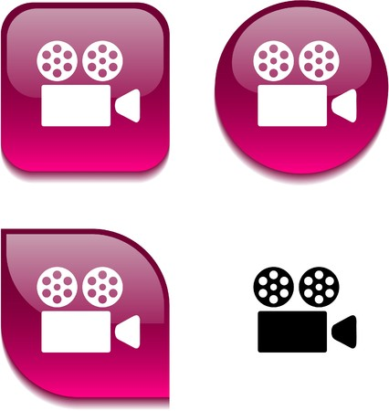 Cinema glossy vibrant web buttons. Stock Vector - 7045872