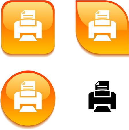 impresora: Imprimir los botones web vibrante brillante.