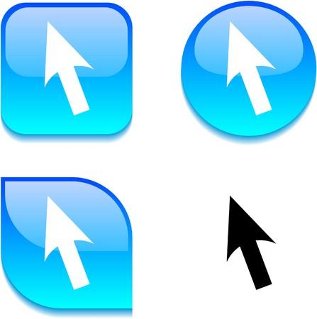 Cursor glossy vibrant web buttons.  Stock Vector - 7045897