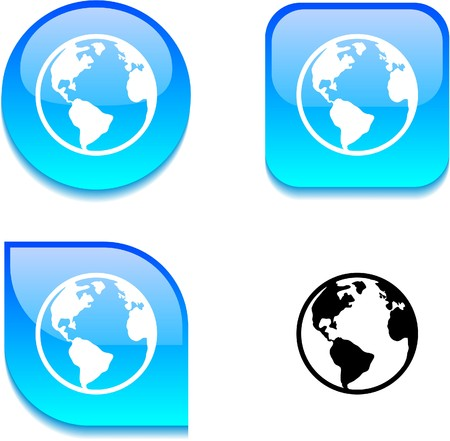 Planet glossy vibrant web buttons.  Stock Vector - 7045907