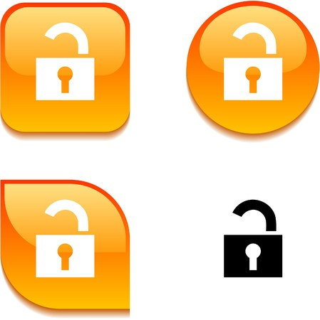 Padlock glossy vibrant web buttons. Stock Vector - 7045915