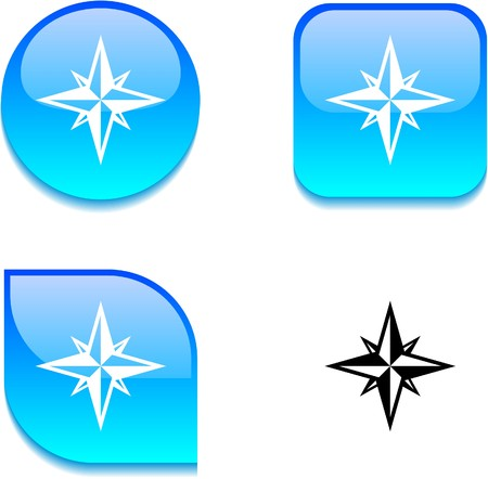 Compass glossy vibrant web buttons. Stock Vector - 7045914