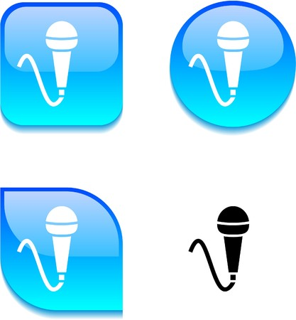 Mic glossy vibrant web buttons.  Vector