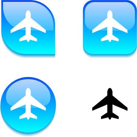 light aircraft: Aircraft glossy vibrant web buttons.