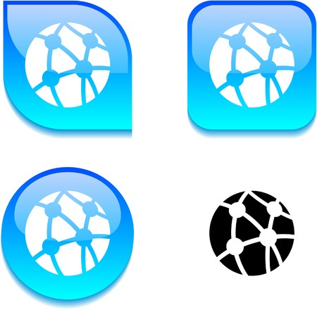 Network glossy vibrant web buttons. Stock Vector - 7060438