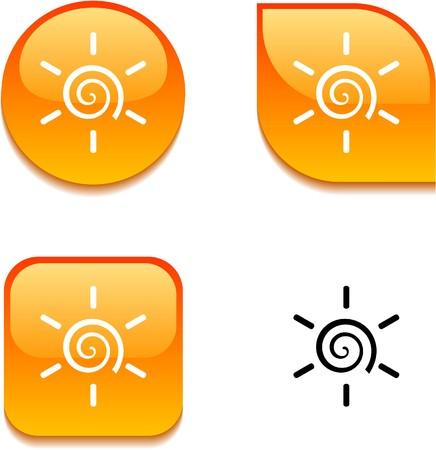 Sun glossy vibrant web buttons.  Vector
