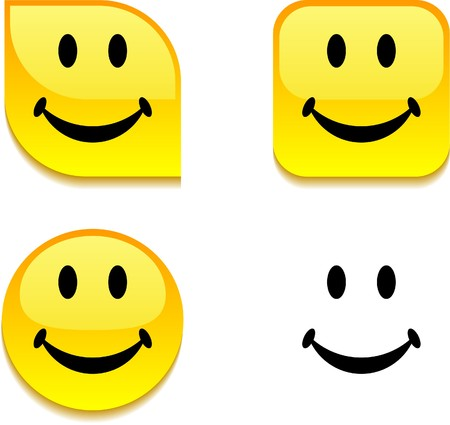 sentimientos y emociones: Botones de web vibrante brillante de Smiley.