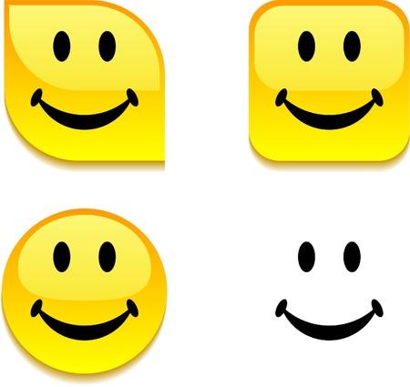 smiley: Smiley glanzende levendige web knoppen.  Stock Illustratie