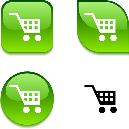 shopping cart icon: Buy glossy vibrant web buttons.