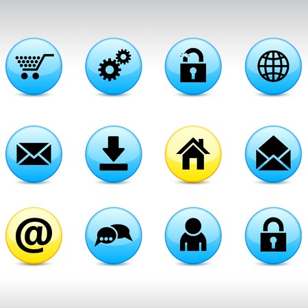 arroba: web set of round glossy icons.